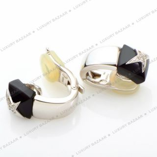 Mauboussin 18K White Gold Onyx and Diamond Earrings