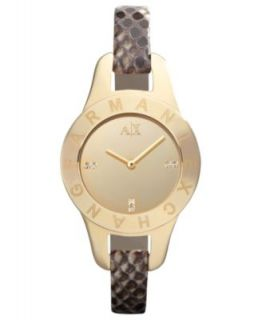 Armani Exchange Watch, Womens Brown Python Stamped Leather Strap