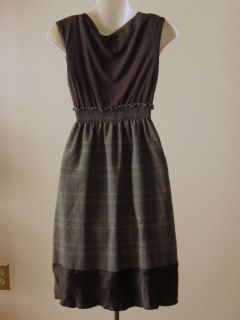 Matty M Gray Plaid Knit Bodice Ruffled Pleated Shift Dress M