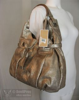 NWT MICHAEL KORS Carey Large Python Metallic Bronze Leather Shoulder