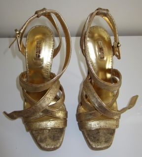 WWE Diva Maryse Ouellet Direct Win My Sexy Gold Sandals Sz 9 Worn by