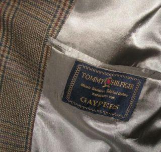 Tommy Hilfiger Brown Plaid Sports Coat Blazer 44 s 44S Wool 3 Button