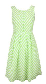 Green White Geometric Print Day Dress Felicity Size 14 New