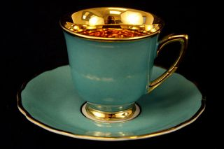 Rudolf Kampf Czechoslovakia Gold w/ Turquoise Porcelain Demitasse Cup