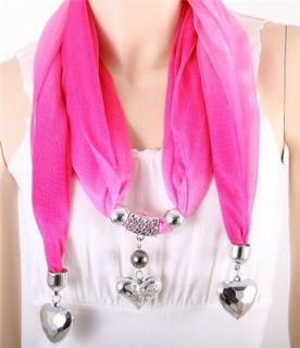 Silver Heart Charm Grey Fabric Scarf Necklace Costume Jewelry