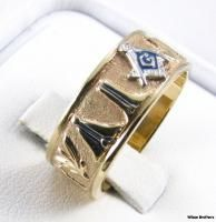 Masonic Symbol Band Ring 10K w Y Gold Master Mason