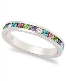Traditions Sterling Silver Ring, Channel Set Multicolored Swarovski