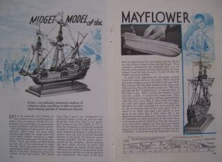 Vintage How to Build Mayflower Wooden Scale Model Pilgrim SHIP 1937