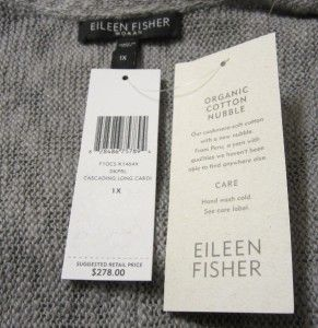 1x Eileen Fisher Cotton Nubble Cascading Long Cardigan Sweater Dark