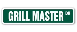 Grill Master Street Sign Cook BBQ Gift Grilling Cookout Bar B Que Chef