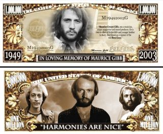 In Memory of Maurice Gibb of The Bee Gees Dollar Bill 25 $4 29