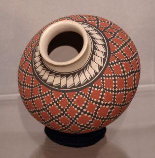 Mata Ortiz Mexico Pottery Folk Art Geometric Pot Eye Dazzler Olla Rosa