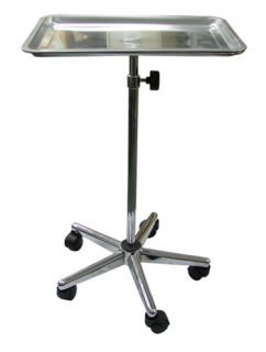Tattoo Body Piercing Instrument Rolling Mayo Stand Chrome Center Post