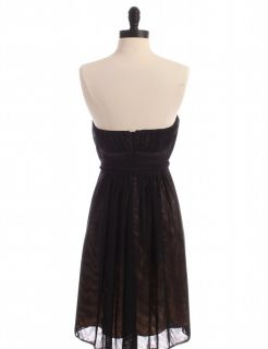 Max and Cleo Black Sheer Overlay Strapless Party Dress Sz 2