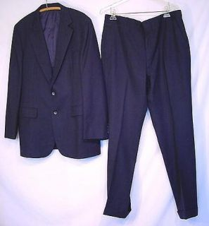 Vintage 60s 70s Navy Pin Stripe Wool Suit C44 W36