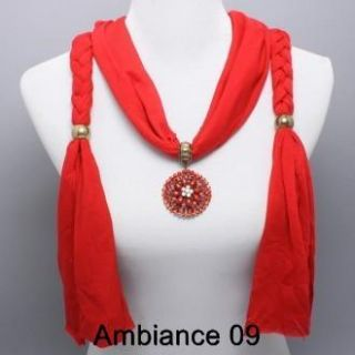 Crystal Flower Charm Red Fabric Scarf Necklace Costume Jewelry
