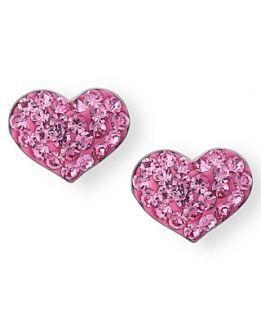 Unwritten Sterling Silver Earrings, Pink Crystal Heart Stud Earrings