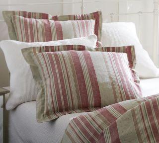 Pottery Barn Red Mathieu Stripe F Q Full Queen Duvet Cover 2 Standard