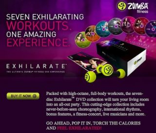 NEW ZUMBA FITNESS EXHILARATE FITNESS 7 DVD SET with Tonning Sticks