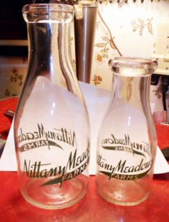 1940 Nittany Meadows Farms State College PA Milk Bottle Pint Quart