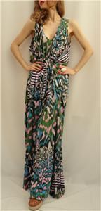 BN MATTHEW WILLIAMSON Printed Jersey Long Maxi Dress Gown UK10  Great