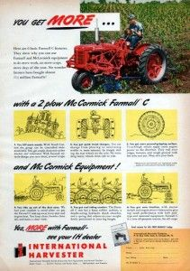 1951 McCormick Farmall C Tractor Original Color Ad