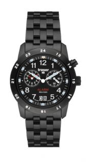 H3 Big Date Pro Alarm Blue Tritium Watch with Leather Strap