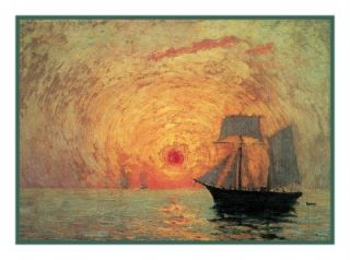 Impressionist Maxime Maufra Red Sun Counted Cross Stitch Chart Free