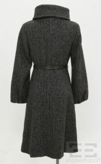 MaxMara Black White Wool Leather Belted Funnel Neck Coat Size US4