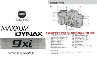 Minolta Maxxum 9xi Dynax 9xi Instruction Manual