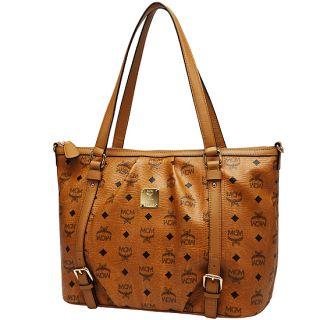 MCM Vintage Visetos Medium Shopper Bag Cognac Handbag Authentic New