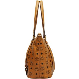 MCM Vintage Visetos Medium Shopper Bag Cognac Handbag Authentic New
