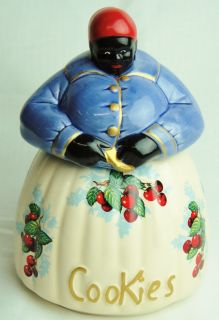 McCoy Black Americana Mammy Cherries Blue Cookie Jar