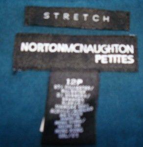 Womens Norton McNaughton Green Velour Jacket Size 12P