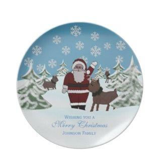 Santa & Reindeer Personalized Christmas Plate