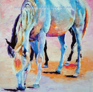 Original Oil Painting Sunrise Horse Friends Art 12x12 Western Colorful