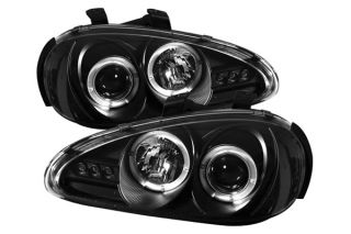 92 96 Mazda MX3 Headlights Pair Halo Projector w LEDs Car Head Lamps