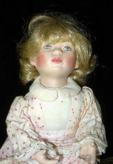 1992 MBI Porcelain Girl Doll in Pajamas Artist Signed