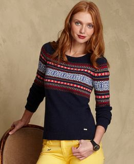Tommy Hilfiger Sweater, Long Sleeve Fair Isle Knit Sweater   Womens