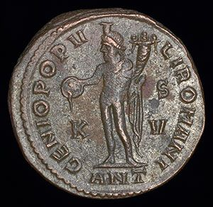 An ancient Roman silver coin of the Emperor Maximian, ( Marcus