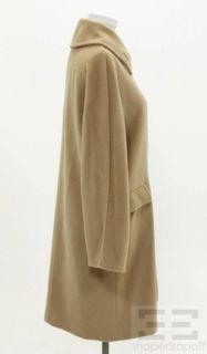 MaxMara Camel Wool Cashmere Double Breasted Coat Size US4