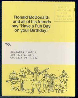 Ronald McDonald, Happy Birthday Postcard, McDonalds, Columbia