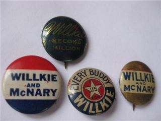 Willkie McNary Political Pinback Buttons 1940