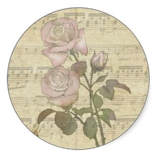 Vintage Romantic pink rose and music score Round Sticker