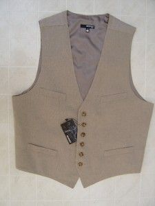 Murano 100% opean Linen Mens XL Vest Dress Tuxedo Suit Coat Khaki