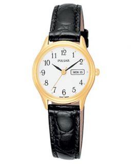 Pulsar Watch, Womens Black Leather Strap PXU012