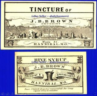 17 1860s Brown Drug Store Antique Medicine Bottle Label