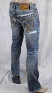 MEK Denim Jeans Mens Oaxaca Med Blue Distressed Straight Leg M1OAX4S4
