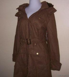 3X Apple Bottoms Camel Faux Fur Hooded Long Wool Coat $119 New Plus