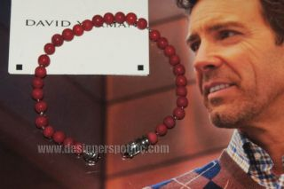 New David Yurman Mens 6mm Red Coral Box Chain Core Stippled Spiritual